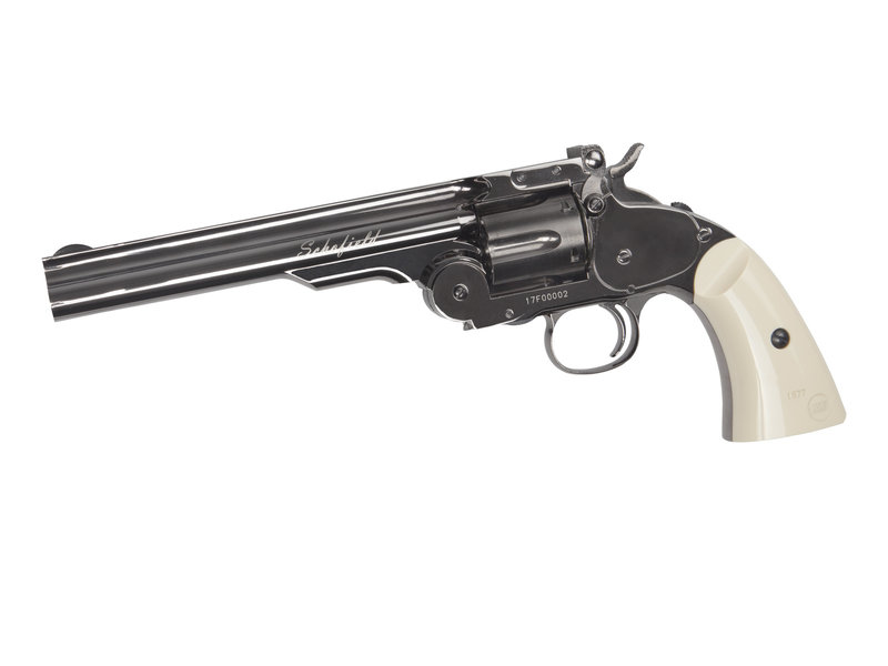 """ASG Schofield 6"""" Airgun - Plated Steel GY & Ivory Grip"""