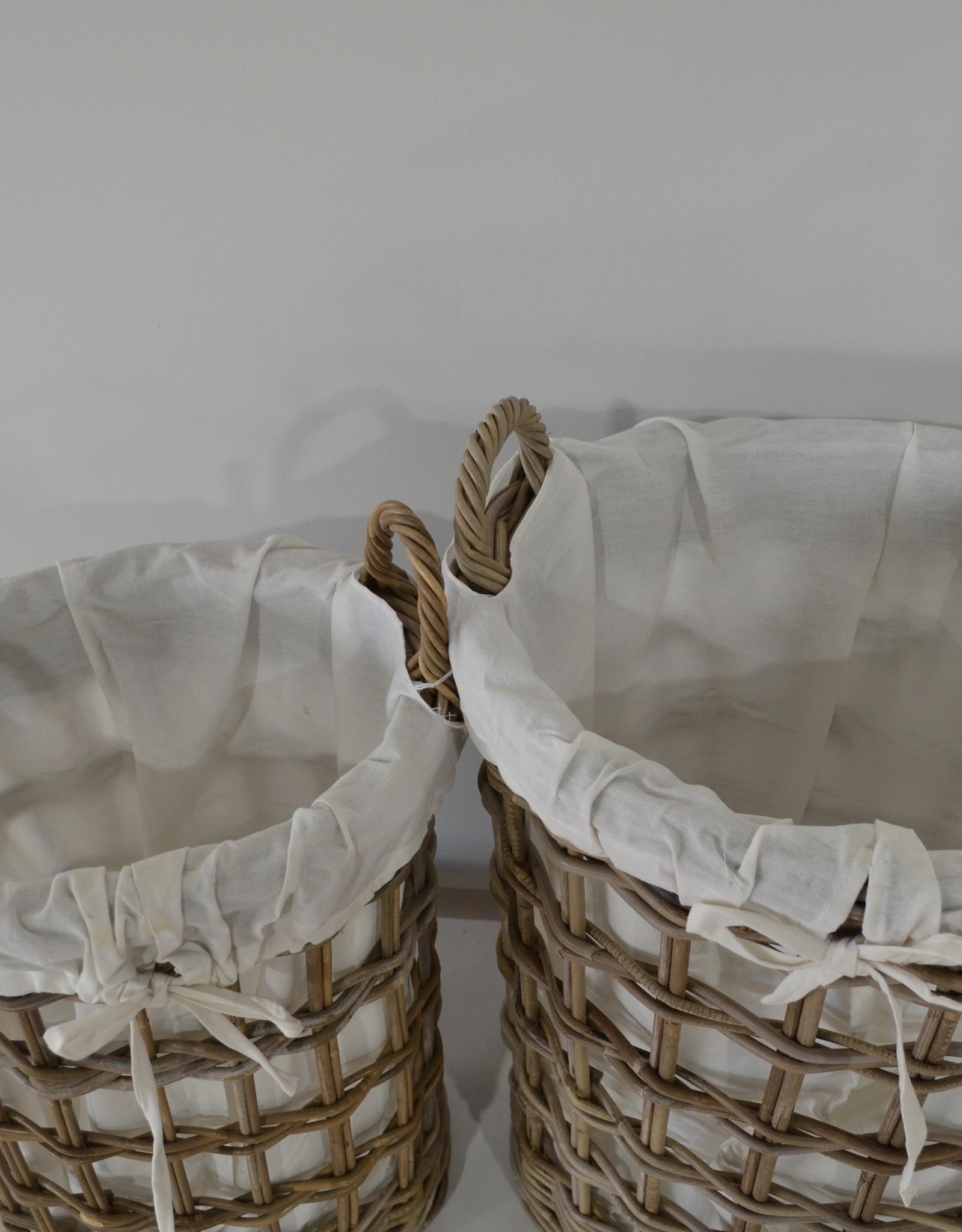 Teak-One Ovalen wasmand set in riet