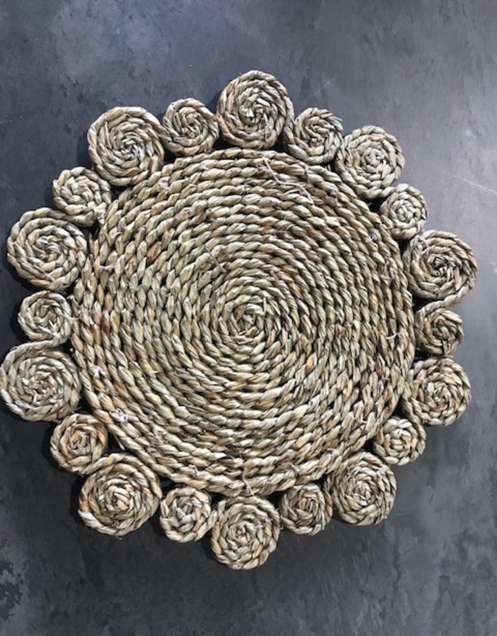 Teak-One Rieten borden onderlegger Ø 36 cm.