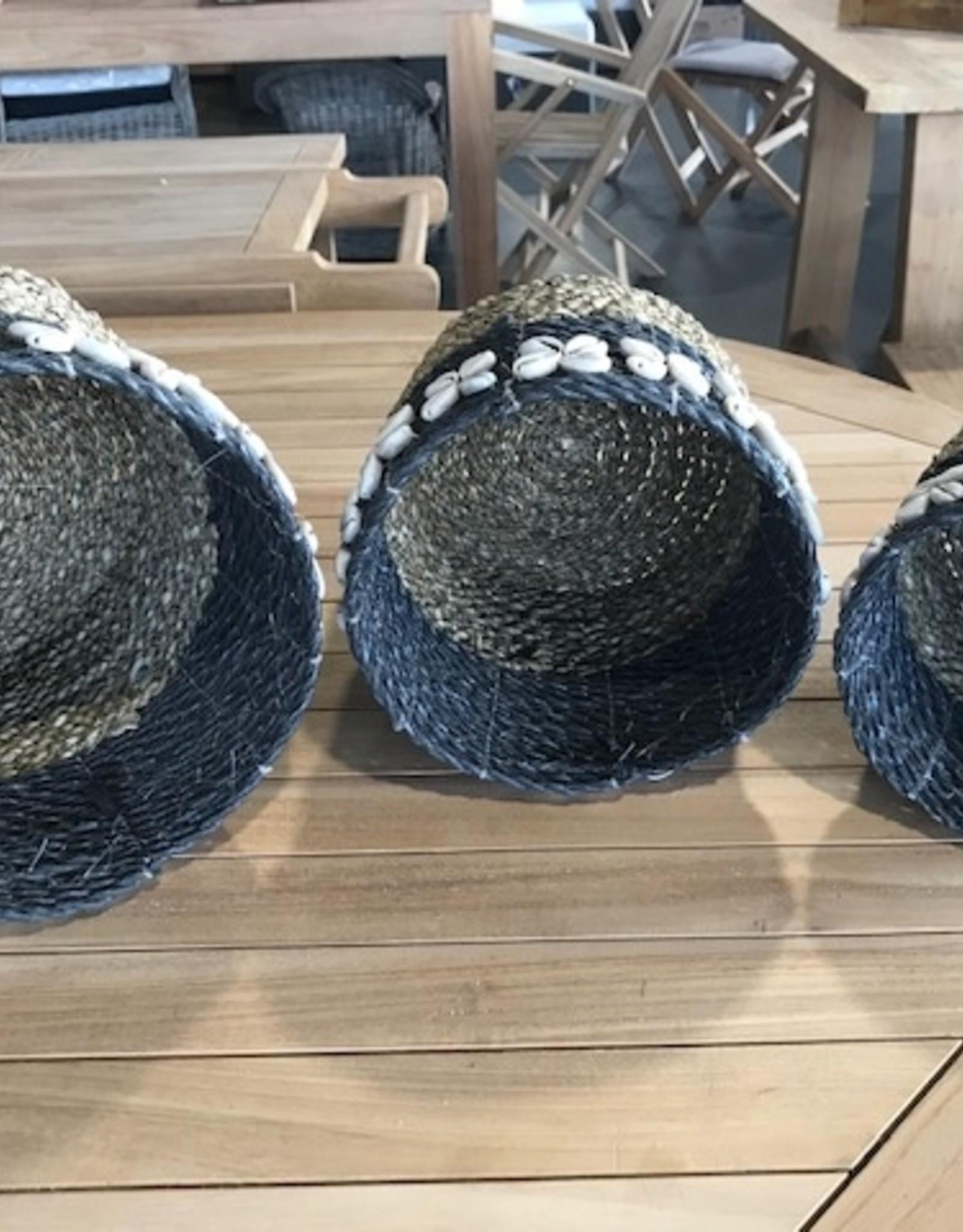 Teak-One Rieten mandje met schelpjes, set van 3