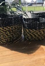 Teak One Mini paniers colorés en osier : ensemble de 3 - couleur double (noir/jaune)