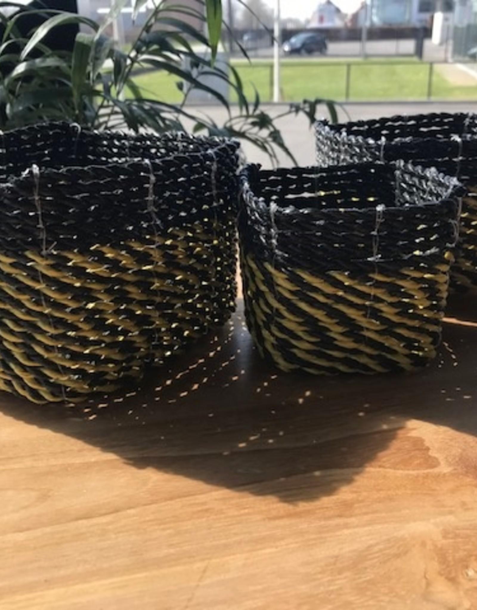 Teak One Mini rieten mandje gekleurd : set van 3 - duo kleur (zwart/geel)