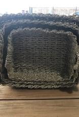 Teak-One Rieten manden kotak  enceng set van 3 = 33 cm. + 38 cm.+ 43 cm.