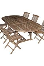 Uitschuifbare tafel + 6 plooistoelen in kwaliteits-teak