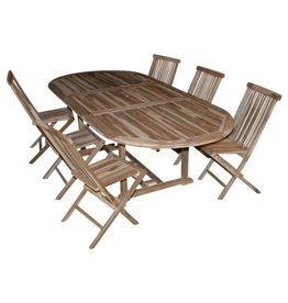 SUPER-PROMO Tuinset: tafel ovaal + 6 plooistoelen