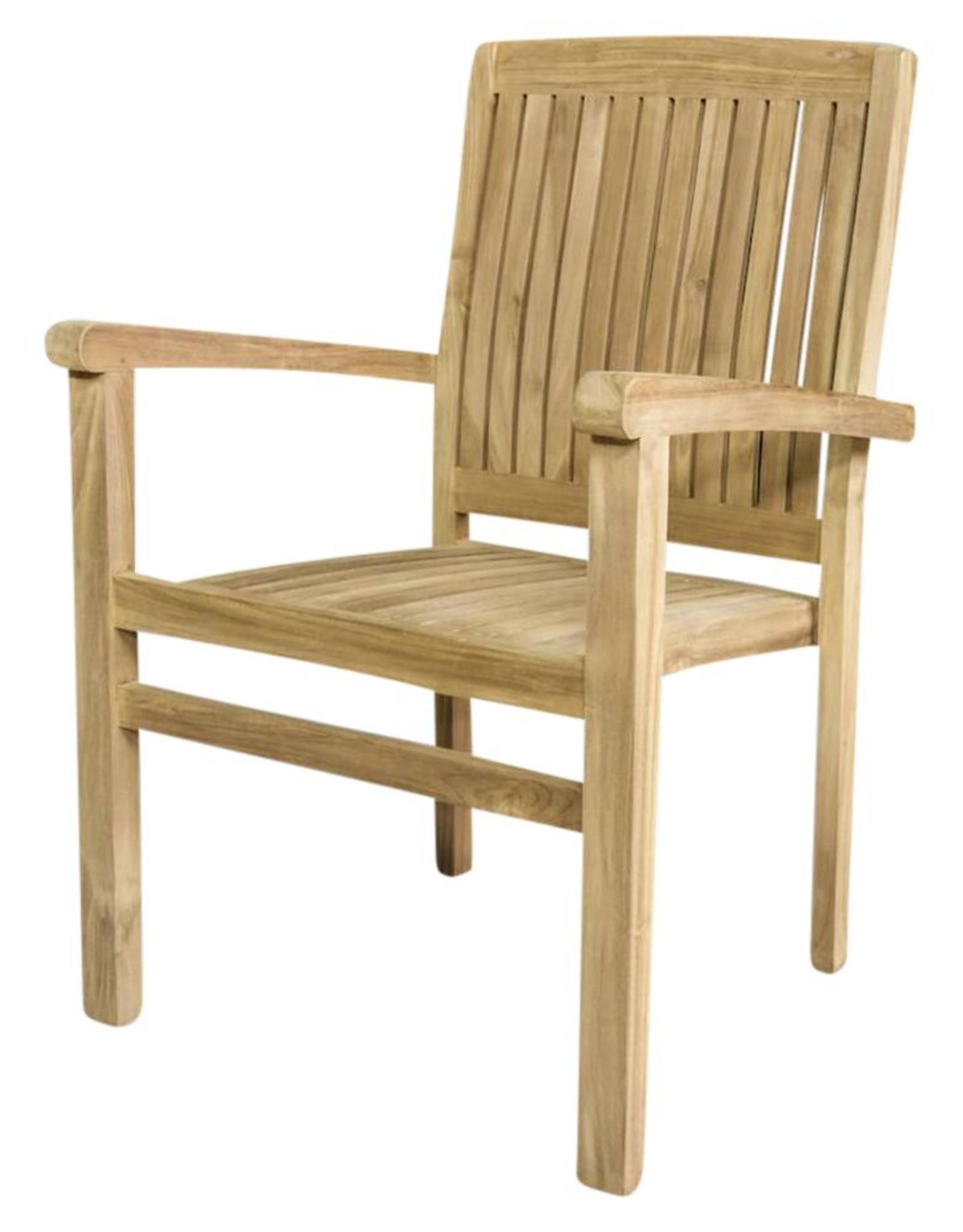 Stapelbare stoel in klasse teakhout