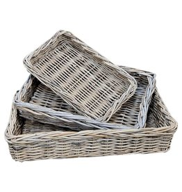 Wicker plateau ensemble de 3