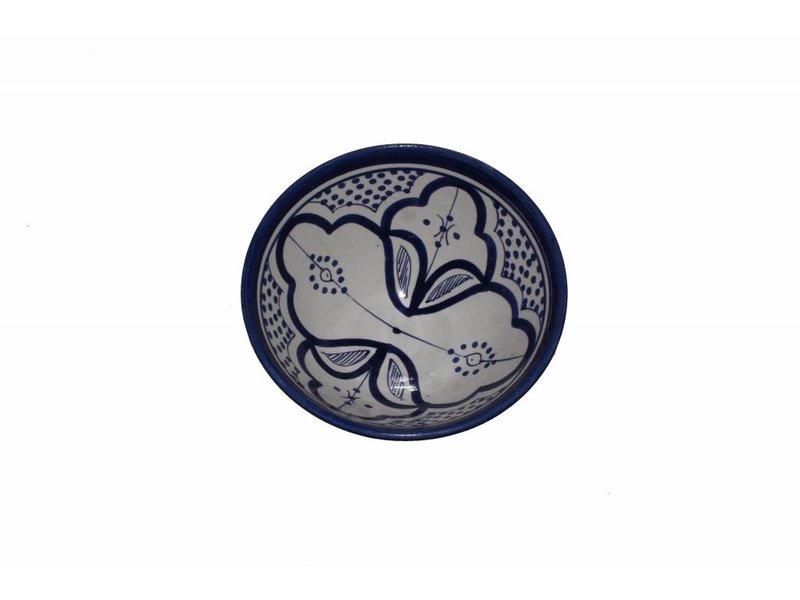 Marokkaans schaaltje wit-blauw 13 cm