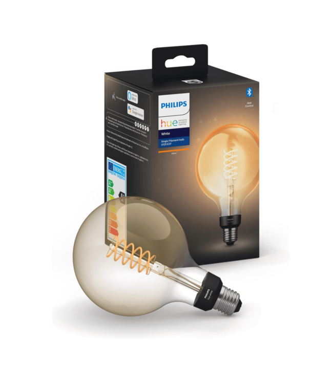 Philips HUE - Smart Personal Lightning Philips HUE White Flame  Single Filament Bulb G125 E27 Fitting Globe