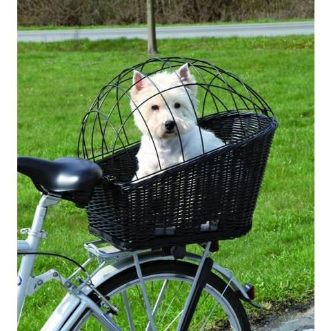 Rieten fietsmand voor achterop met korf. Zwart