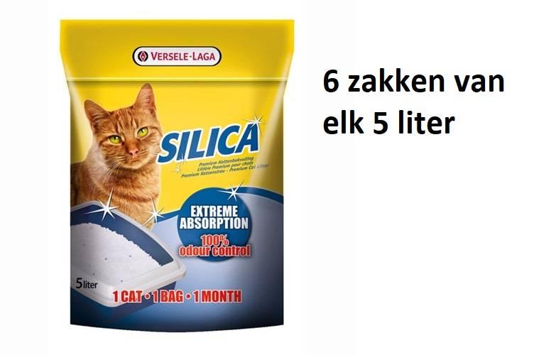 6 zakken á 5 liter  Silica kattenbakvulling