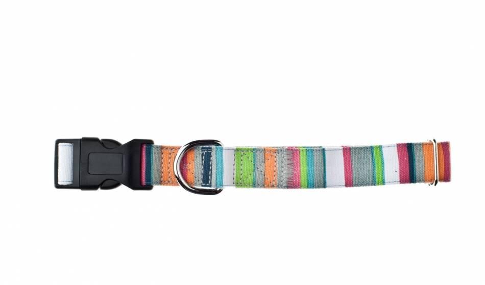 Nylon-katoen verstelbare halsband. Rainbow