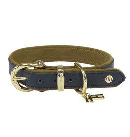 Halsband zadelleer, blauw