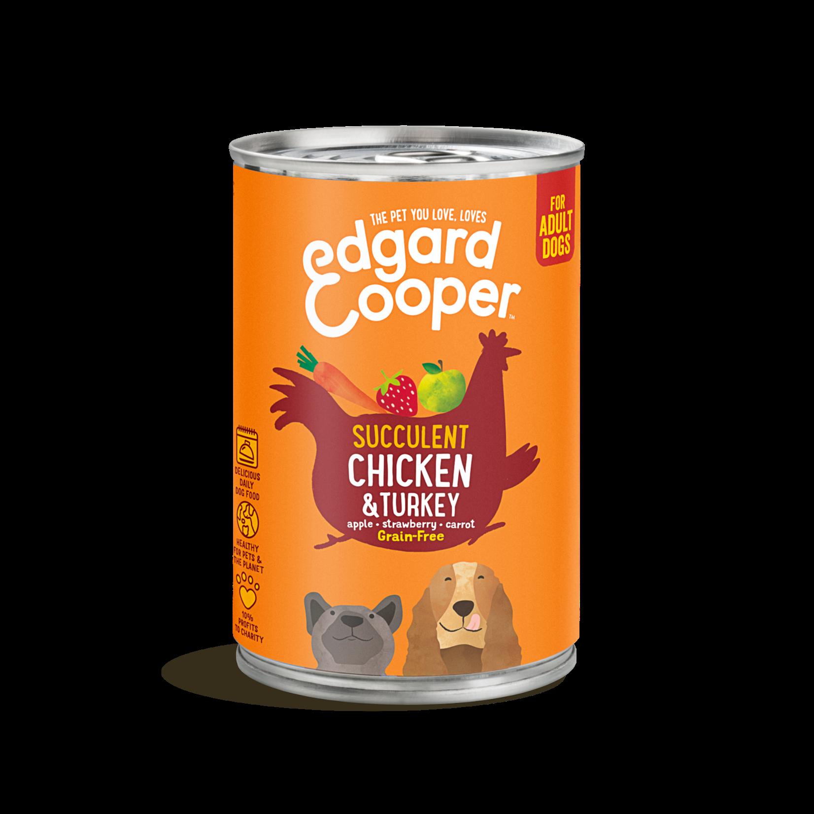 Edgard&Cooper Blik Adult Kip en Kalkoen 400 gram Graanvrij