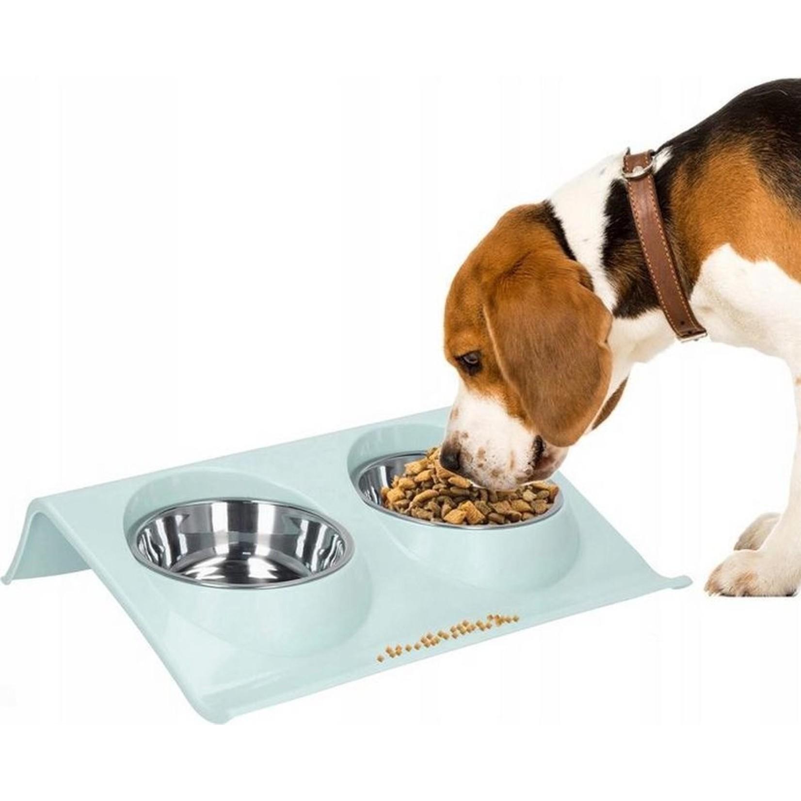 Dubbele  voer-drinkbak katten / honden. RVS