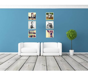 Collage 30 x 30 cm houten lijsten Basic Line blank hout