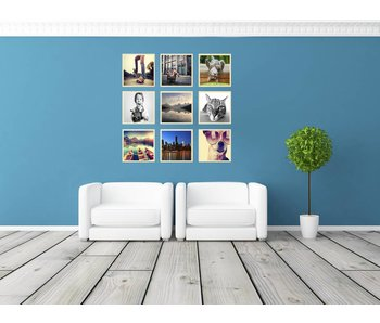 Collage 40 x 40 cm houten lijsten Basic Line blank hout