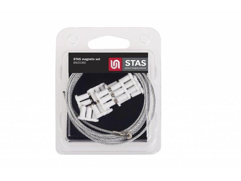 STAS Magnet set wit - 150 cm inclusief 10 witte driepoot magneetjes