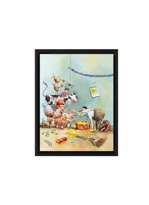 Smullen met opa jan - Gicleé op canvas in baklijst - Marius van Dokkum