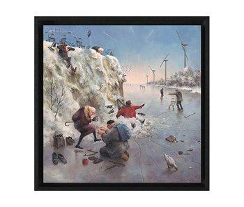 Ijspret - Gicleé op canvas in baklijst - Marius van Dokkum