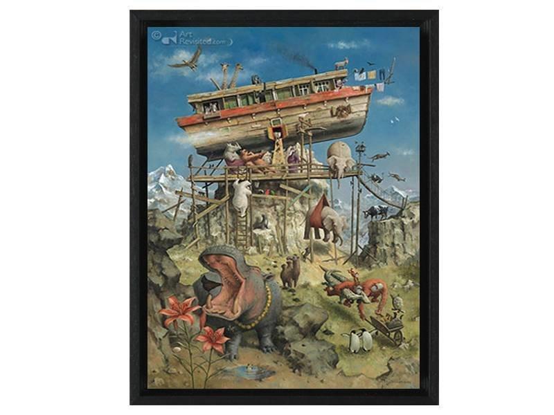 DLF De ark van Noach van Marius van Dokkum als Gicleé  op canvas inclusief zwarte baklijst