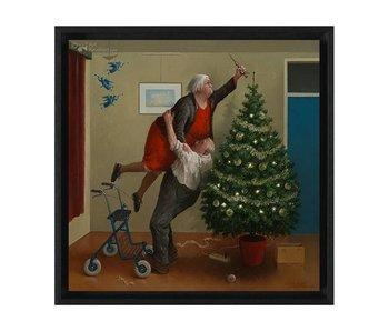 Kerstengeltjes - Gicleé op canvas in baklijst - Marius van Dokkum