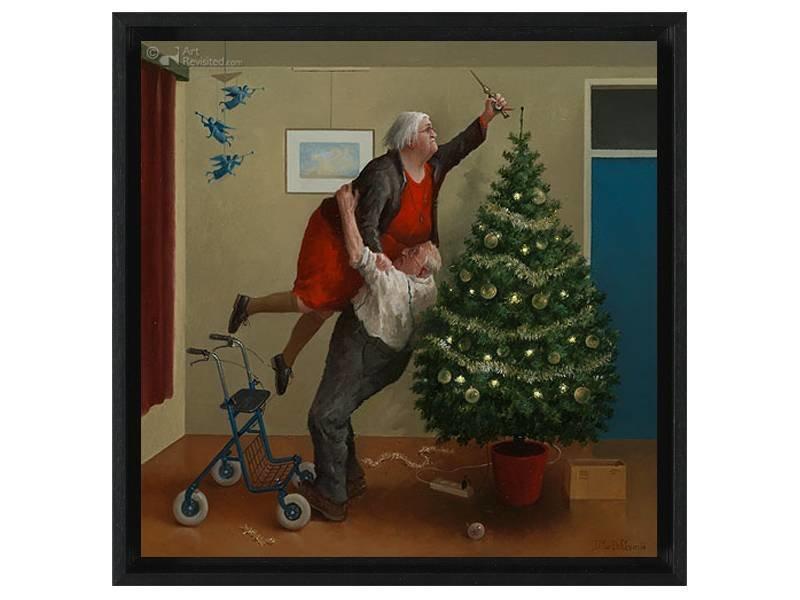 DLF Kerstengeltjes van Marius van Dokkum als Gicleé  op canvas inclusief zwarte baklijst