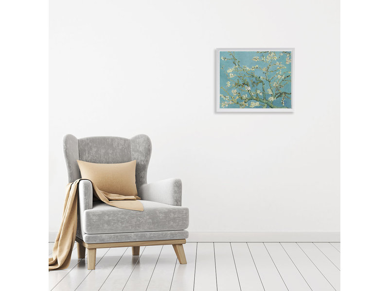 Amandelbloesem - op canvas geprint en ingelijst in een baklijst