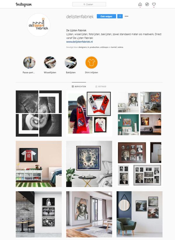 Instagram van De Lijsten Fabriek met inlijst tips