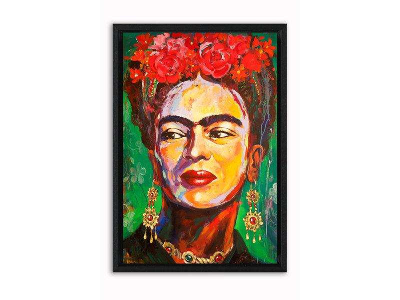 Portret Frida Kahlo - op canvas geprint en ingelijst in een baklijst