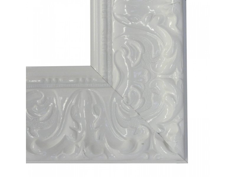 DLF Premier Ornament XL hoogglans wit - zeer brede lijst met ornament