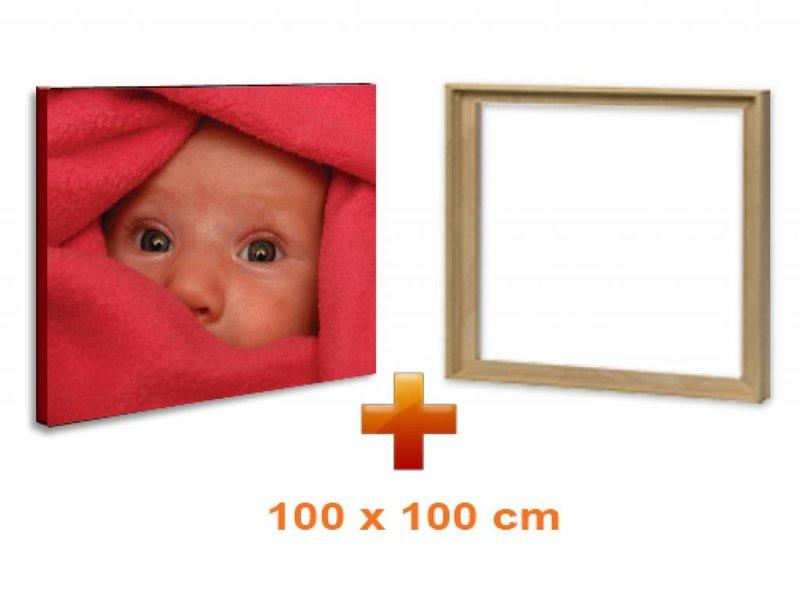 DLF Eigen foto op canvas 100 x 100 cm in baklijst ingelijst