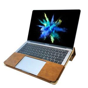 Macbook Pro Hoes Touch Bar Leder Bruin (2016-2017) inch