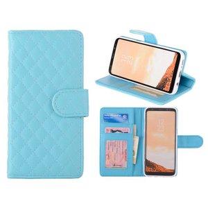 Samsung Galaxy S8 Bookcase Hoesje Ruit Blauw