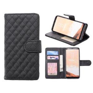 Samsung Galaxy S8 Bookcase Hoesje Ruit Zwart
