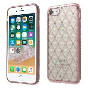 iPhone 8/7 Hoesje Diamantjes 3D Ruitjes Rose Goud