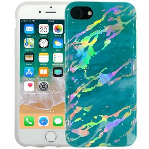 Marmer iPhone 8/7 Hoesje Hologram Turquoise