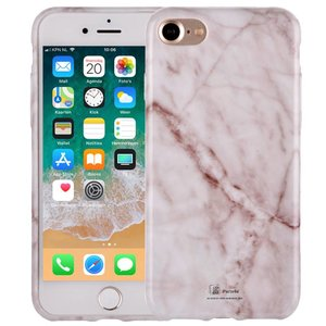 Marmer iPhone 8 Hoesje Marble Wit Siliconen