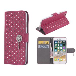 iPhone 8/7 Bookcase Diamantjes Roos Diep Roze