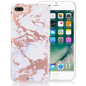 Wit Marmer iPhone 6S/6 Hoesje Rose Goud