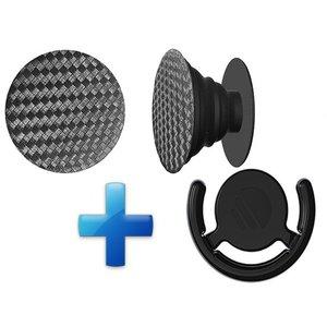 Popsockets Button met Auto houder Zwart Carbon
