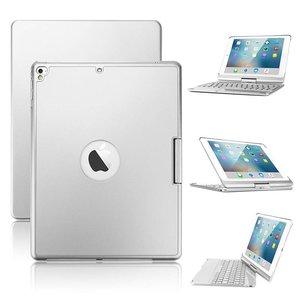 iPad 2018/2017/Air 2/Pro/Air 1 Toetsenbord Hoes Draaibaar Note Kee Zilver