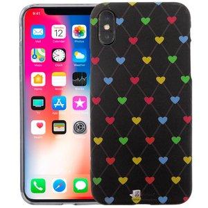 iPhone X Siliconen Case Hartjes Zwart Glow In Dark