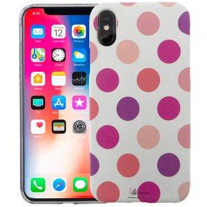 iPhone X Siliconen Case Stippen Roze Glow In Dark