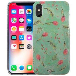 iPhone X Siliconen Case Tulpen Groen Glow in Dark