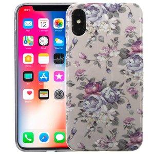 iPhone X Siliconen Case Bloemen Paars Glow in Dark