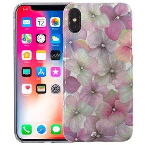iPhone X Siliconen Case Bloemen Roze Glow in Dark