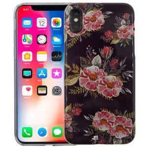 iPhone X Siliconen Case Bloemen Zwart Glow in Dark