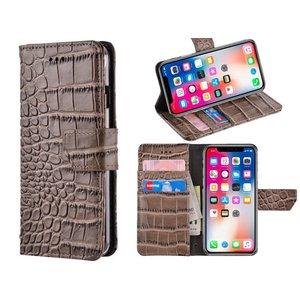 iPhone X Bookcase Hoesje Krokodil Leder Grijs