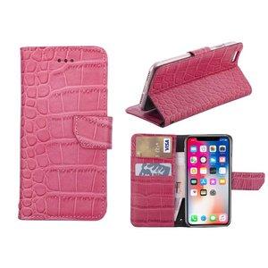 iPhone X Bookcase Hoesje Krokodil Leder Roze